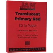 JAM Paper® Translucent Vellum Paper, 8.5 x 11, 30lb Red, 100/pack (301773)