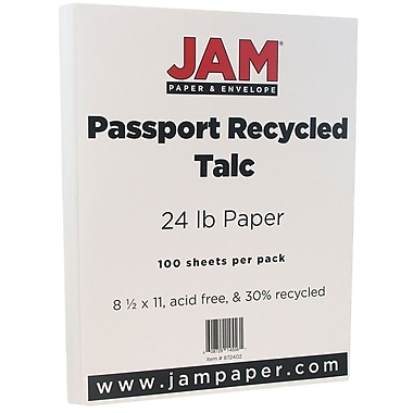 JAM Paper® Recycled Paper, 8.5 x 11, 24lb Talc White, 100/pack (872402)