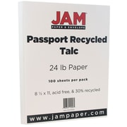 "JAM Paper® Recycled Paper - 8.5"" x 11"" - 24 lb Talc Passport - 100/pack"