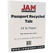 JAM Paper® Recycled 24lb Paper, 8.5 x 11, Passport Talc White, 100 Sheets/Pack (872402)