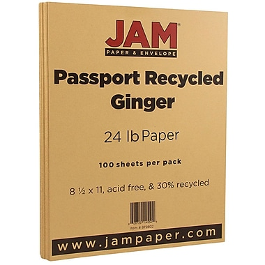 JAM Paper® Recycled Paper, 8.5 x 11, 24lb Ginger Brown, 100/pack (872802)