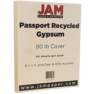 JAM Paper® Recycled Cardstock, 8.5 x 11, 80lb Gypsum Ivory, 50/pack (880410)