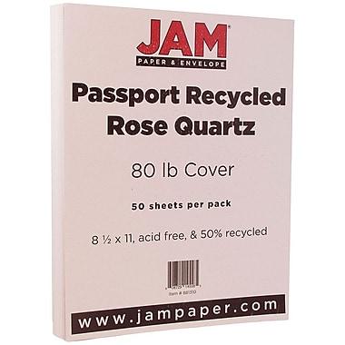 JAM Paper® Recycled Cardstock, 8.5 x 11, 80 lb Passport Rose Quartz Pink, 50/pack (881310)