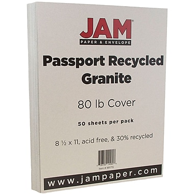 JAM Paper® Recycled Cardstock, 8.5 x 11, 80lb Granite Grey, 50/pack (881715)