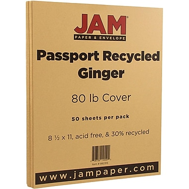 JAM Paper® Recycled Cardstock, 8.5 x 11, 80lb Ginger Brown, 50/Pack (882315)