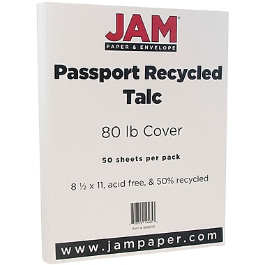 JAM Paper® Recycled Cardstock, 8.5 x 11, 80lb Talc White, 50/pack (882415)