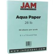 JAM Paper® Matte Paper, 8.5 x 11, 28lb Aqua Blue, 50/pack (1524369)