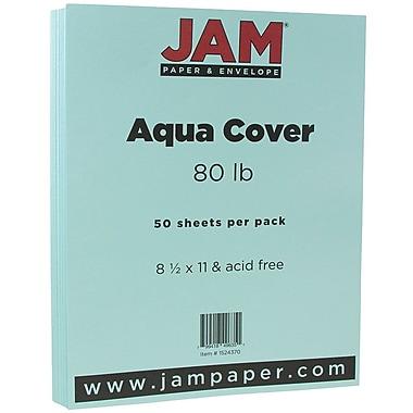JAM Paper® Matte Cardstock, 8.5 x 11, 80lb Aqua Blue, 50/Pack (1524370)