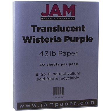 JAM Paper® Translucent Vellum Cardstock, 8.5 x 11, 43lb Wisteria Purple, 50/Pack (1592216)