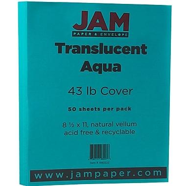 Jam PaperMD – Papier couverture translucide, 8 1/2 x 11 po, turquoise, 50 feuilles/paquet