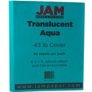 JAM Paper® Translucent Vellum Cardstock, 8.5 x 11, 43lb Aqua Blue, 50/pack (1592222)