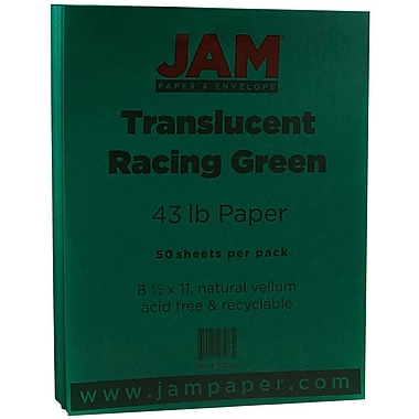 JAM PaperMD – Papier couverture cartonné translucide, fini vélin, 8-1/2 x 11 po, vert course, 50/pqt