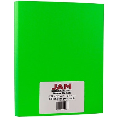 JAM Paper® Neon Cardstock, 8.5 x 11, 43lb Fluorescent Green, 50/Pack (5733971)