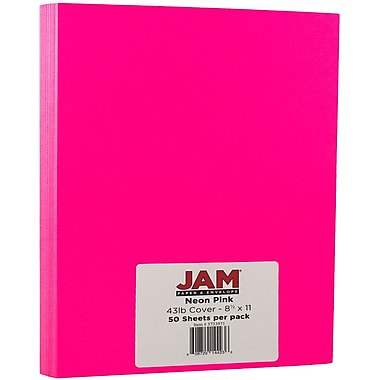 JAM Paper - Papier cartonné Neon, 8,5 x 11 po, 43 lb, rose fluorescent, 50/paquet (5733975)