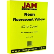 JAM Paper® Neon Cardstock, 8.5 x 11, 43lb Fluorescent Yellow, 50/pack (5733977)