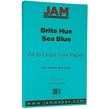 JAM Paper® Bright Colour Legal Paper, 8.5 x 14, 24lb Brite Hue Sea Blue Recycled, 100/Pack (16728245)