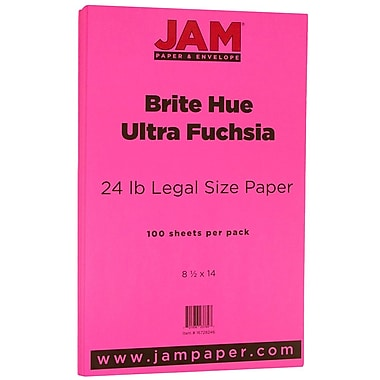 JAM Paper® Bright Colour Legal Paper, 8.5 x 14, 24lb Brite Hue Ultra Fuchsia Pink, 100/Pack (16728246)