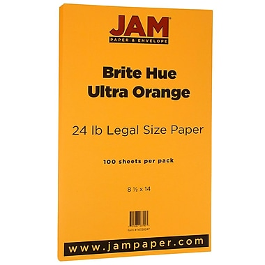JAM Paper® Bright Colour Legal Paper, 8.5 x 14, 24lb Brite Hue Ultra Orange, 100/Pack (16728247)