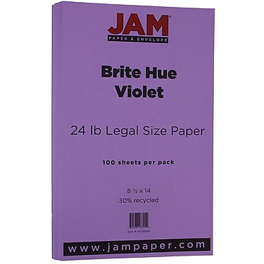 JAM Paper® Bright Colour Legal Paper, 8.5 x 14, 24lb Brite Hue Violet Purple Recycled, 100/Pack (16728248)