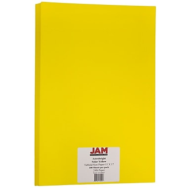 JAM Paper® Bright Colour Tabloid Paper, 11 x 17, 24lb AstroBrights® Solar Yellow, 100/Pack (16728463)