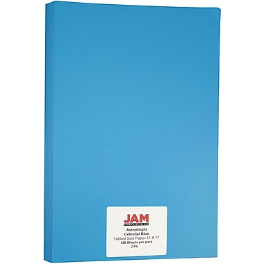 JAM Paper® Bright Colour Tabloid Paper, 11 x 17, 24lb AstroBrights® Celestial Blue, 100/Pack (16728466)