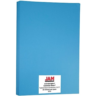 JAM Paper® Bright Colour Tabloid Cardstock, 11 x 17, 65lb AstroBrights® Celestial Blue, 50/Pack (16728479)