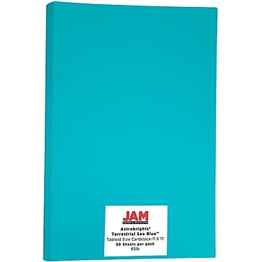 JAM Paper® Bright Colour Tabloid Cardstock, 11 x 17, 65lb AstroBrights® Terrestrial Sea Blue, 50/Pack (16728482)