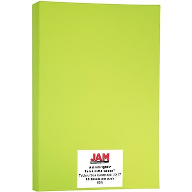 JAM Paper® Bright Colour Tabloid Cardstock, 11 x 17, 65lb AstroBrights® Terra Lime Green, 50/Pack (16728486)