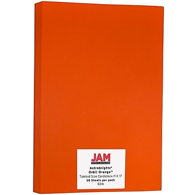 JAM Paper® Bright Colour Tabloid Cardstock, 11 x 17, 65lb AstroBrights® Orbit Orange, 50/Pack (16728492)