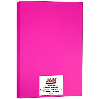 JAM Paper Bright Colour Tabloid Cardstock, 11 x 17, 65lb AstroBrights Fireball Fuchsia Pink, 50/Pack (16728494)
