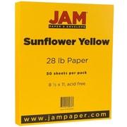 """JAM Paper® Matte Paper - 8.5"""" x 11"""" - 28 lb Sunflower Yellow - 50/pack"""