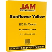 JAM Paper® Matte 80lb Colored Cardstock, 8.5 x 11 Coverstock, Sunflower Yellow, 50 Sheets/Pack (16729203)