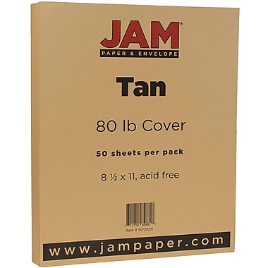 JAM Paper® Matte Cardstock, 8.5 x 11, 80lb Light Brown Tan, 50/Pack (16729211)