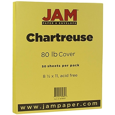 JAM Paper® Matte Cardstock, 8.5 x 11, 80lb Chartreuse Green, 50/Pack (16729227)