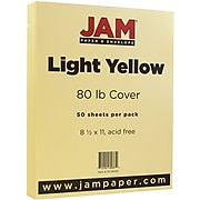 JAM Paper® Matte 80lb Colored Cardstock, 8.5 x 11 Coverstock, Light Yellow, 50 Sheets/Pack (16729235)
