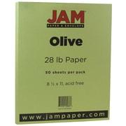 "JAM Paper® Matte Paper - 8.5"" x 11"" - 28 lb Olive Green - 50/pack"