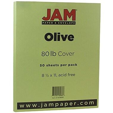 JAM Paper® Matte Cardstock, 8.5 x 11, 80lb Olive Green, 50/Pack (16729256)