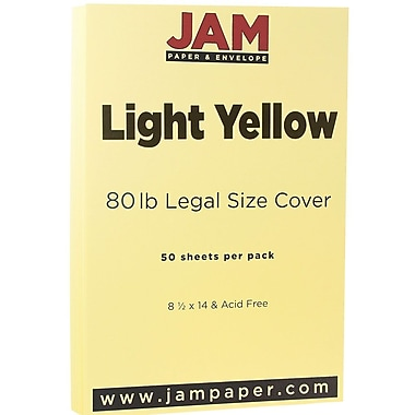 JAM Paper® Matte Legal Cardstock, 8.5 x 14, 80lb Light Yellow, 50/Pack (16729341)