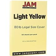 JAM Paper® Legal Matte 80lb Colored Cardstock, 8.5 x 14 Coverstock, Light Yellow, 50 Sheets/Pack (16729341)