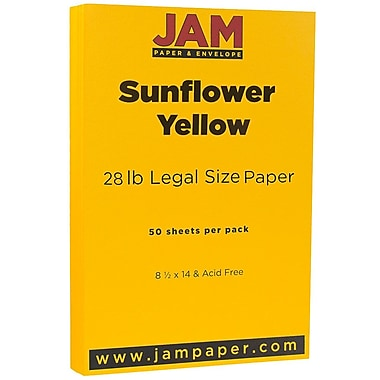 JAM Paper® Matte Legal Paper, 8.5 x 14, 28lb Sunflower Yellow, 50/Pack (16729346)