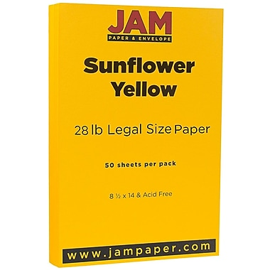 JAM Paper® Matte Legal Cardstock, 8.5 x 14, 80lb Sunflower Yellow, 50/Pack (16729352)