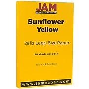 JAM Paper® Legal Matte 80lb Colored Cardstock, 8.5 x 14 Coverstock, Sunflower Yellow, 50 Sheets/Pack (16729352)