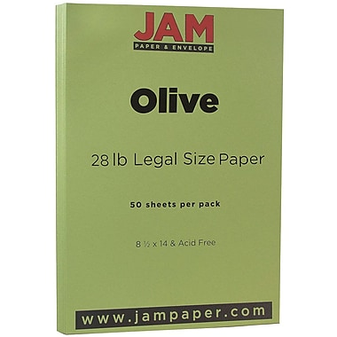 JAM Paper® Matte Legal Paper, 8.5 x 14, 28lb Olive Green, 50/Pack (16729367)