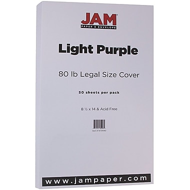 JAM Paper® Matte Legal Cardstock, 8.5 x 14, 80lb Light Purple, 50/Pack (16729382)