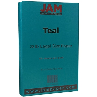 JAM Paper® Matte Legal Paper, 8.5 x 14, 28lb Teal Blue, 50/Pack (16729441)