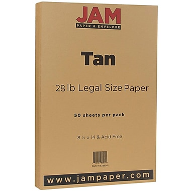 JAM Paper® Matte Legal Paper, 8.5 x 14, 28lb Tan Brown, 50/Pack (16729541)