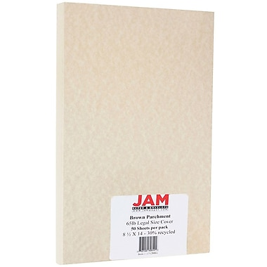 JAM Paper® Parchment Legal Cardstock, 8.5 x 14, 65lb Brown Recycled, 50/Pack (17128861)