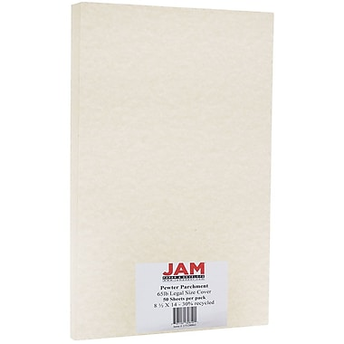 JAM Paper® Parchment Legal Cardstock, 8.5 x 14, 65lb Pewter Recycled, 50/Pack (17128862)