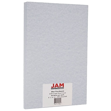 JAM Paper® Parchment Legal Cardstock, 8.5 x 14, 65lb Blue Recycled, 50/Pack (17128863)