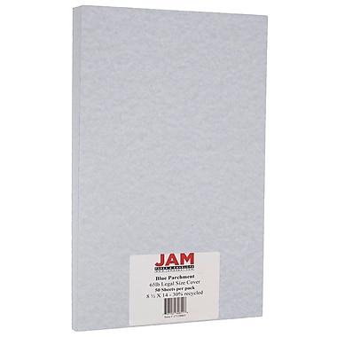 JAM Paper - Papier parchemin cartonné de format légal, 8,5 x 14 po, 65 lb, bleu recyclé, 50/pqt, (17128863)